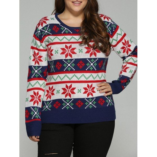 23.57$  Buy here - http://dic9o.justgood.pw/go.php?t=199670505 - Plus Size Christmas Jacquard Pullover Knit Sweater 23.57$