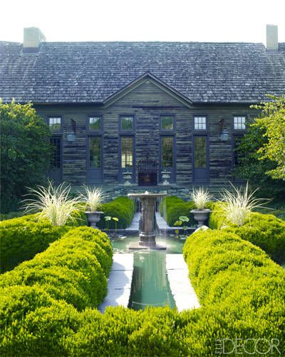 Beautiful pond & fountain surrounded by a boxwood hedge.: Boxwood Hedges, Elle Decor, Gardenlandscap Design, Gardens Fountain, Beautiful Country Home, Stones Houses, Children, Fleas Marketing, New Jersey