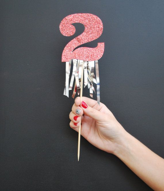 Glitter Number Birthday Cake Topper with Fringe by twinkleandtoast, $12.00