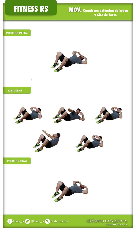 CRUNCH CON EXTENSIÓN DE BRAZO Y GIRO DE TORSO  Este ejercicio te ayudará a fortalecer los abdominales superiores y oblicuos. #fitness #GYM #salud #WorkOut