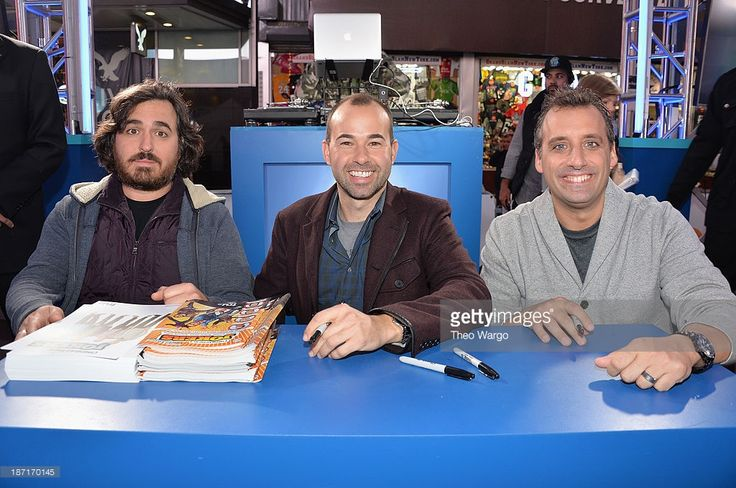 Actors Brian Quinn, James Murray, and Joe Gatto pose at the Guinness World Records Unleashed Arena in Times Square on November 6, 2013 in New York City. (Photo by Theo Wargo/WireImage) 24244_003_TW_0278.JPG