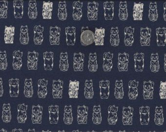Lucky Cats I Spy Asian Cat Fabric from Japan Navy Cream By the Fat Quarter BTFQ