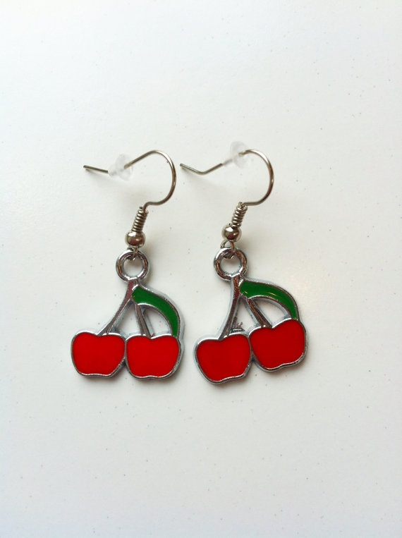 Red cherry earrings by MadeWithLovebyGen on Etsy, $10.00