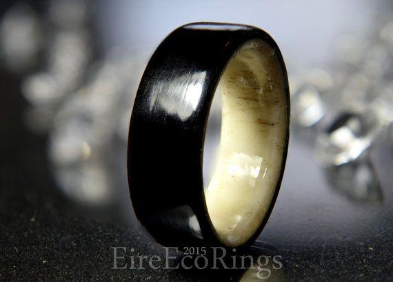 Deer antler ring with aincent Irish bog Oak wood by EireEcoRings
