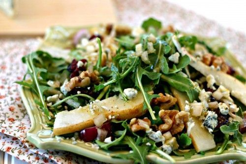 Pear, Walnut, Blue Cheese Spinach Salad with homemade Apple Cider Vinaigrette.