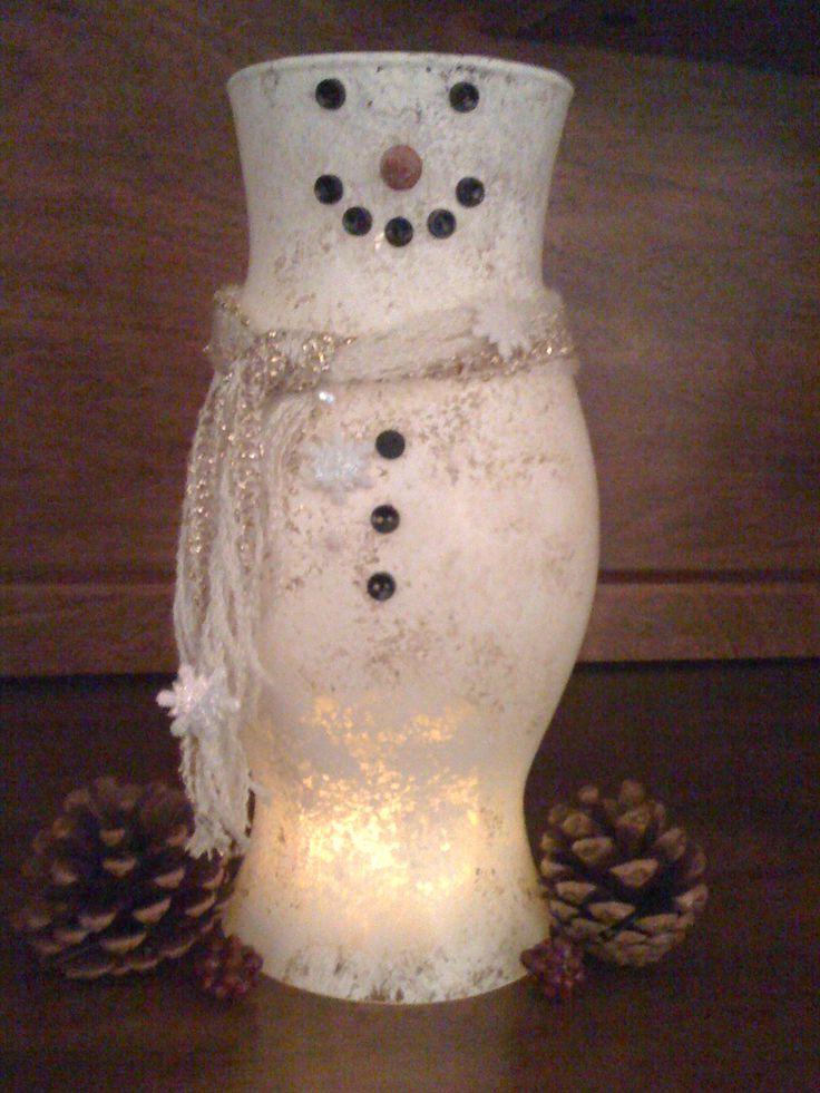 Snowman ~ Hand Painted Hurricane Globe
