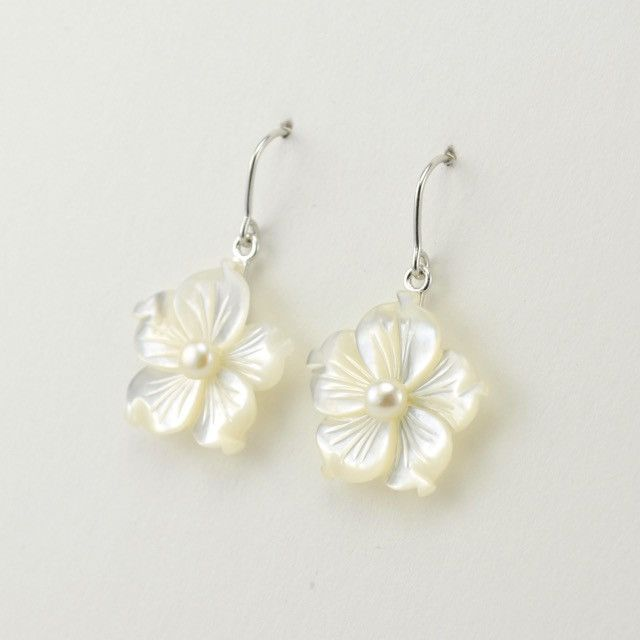 4029 Sterling Silver Mother Of Pearl Flower 20mm With Dangle Earrings