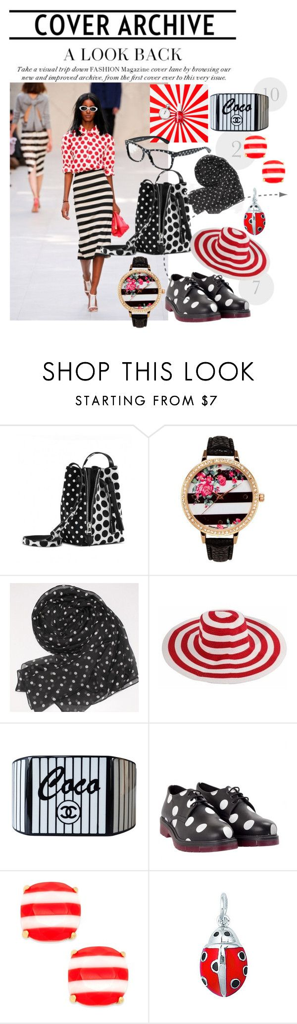 """""""stripped and pois"""" by anya2991 on Polyvore featuring moda, Elena Ghisellini, A Classic Time Watch Co., Chanel, Never Ever, Kate Spade e Dolce&Gabbana"""
