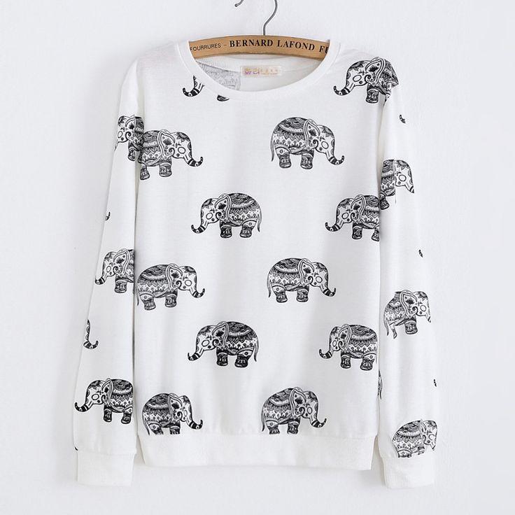 Aliexpress.com: Compre 2016 outono inverno mulheres moda Hoodies impressão elefante quente camisola com capuz mulheres capuz Tops de confiança camisola america fornecedores em JU Fashion Store
