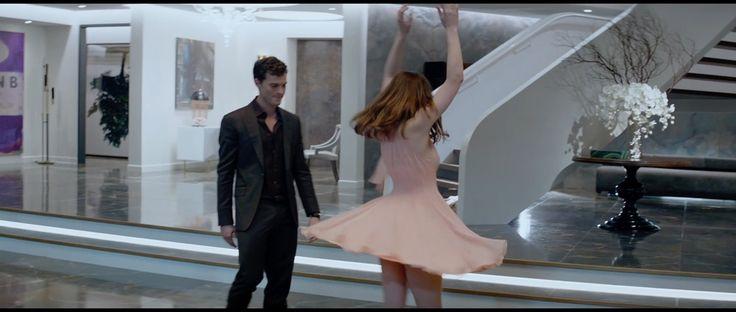 Mark Bridges (Costume Designer) Custom Made Pink Chiffon Halter Dress as seen on Anastasia Steele in Fifty Shades of Grey | TheTake