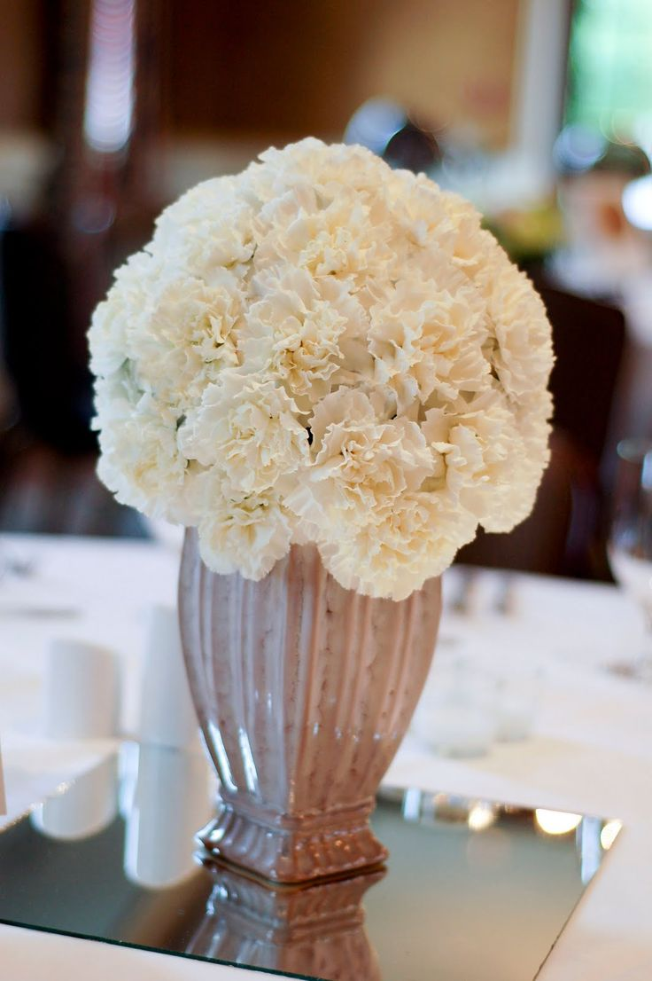 19 best carnations images on pinterest blue flowers blue all white carnation centerpiece izmirmasajfo Choice Image