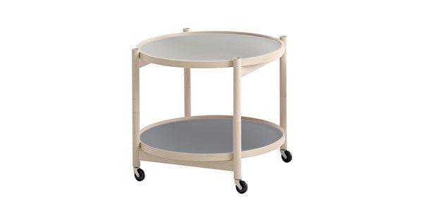 Kruger rullbord, 60 cm - bok, ljusgrå & mörkgrå. Soffbord & småbord – Möbler från Svenssons i Lammhult