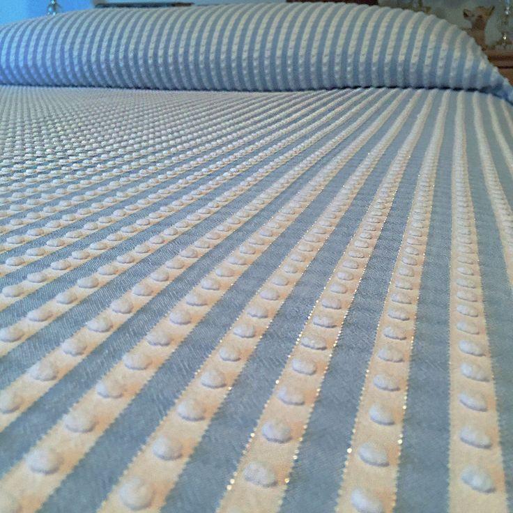 Vintage MORGAN JONES Chenille Bedspread  Blue n White Stripe ~ Pops n Lurex FULL