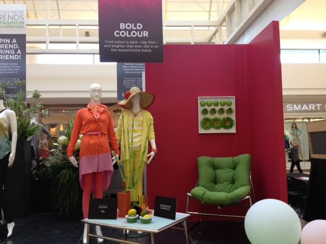 """Is the Bold Colour vignette your fave? Re-pin this onto your """"Southgate and Edmonton Home Show Furniture Contest"""" as part of your contest entry!"""