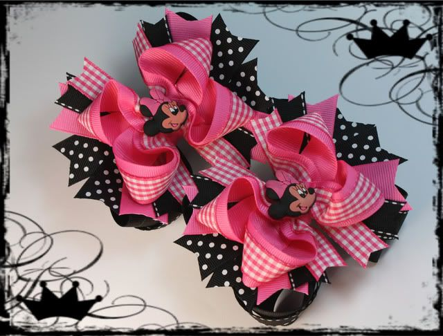 Website sells many different hair bows, but can easily be duplicated.  the black dotted ribbon makes the bow really POP.