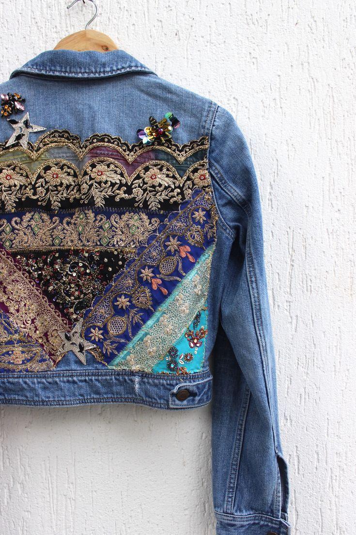 Boho Inspiriert Bestickte Jeansjacke Vintage Indian Patch Applikation Handgemachte Uberarbeitete Jean Jeans Jacken Bestickte Jeansjacke Jeansjacke Vintage