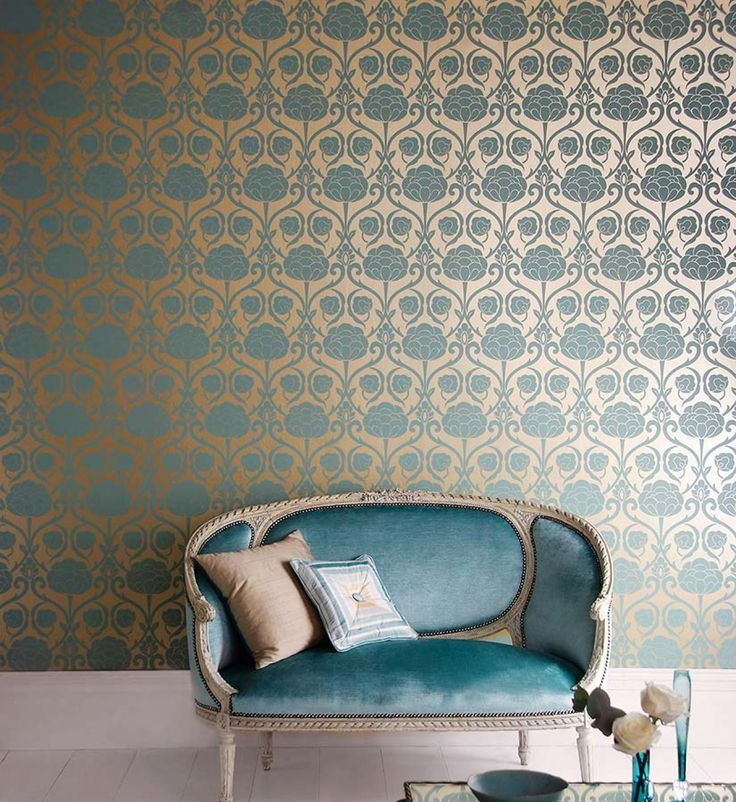 Décoration intérieure / salon chambre / papier peint / Bleu turquoise doré / élégant chic raffiné / motifs baroque texture brillant