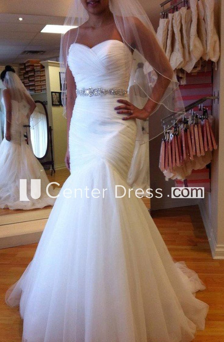 Mermaid trumpet sweetheart tulle lace up corset back bridal gown