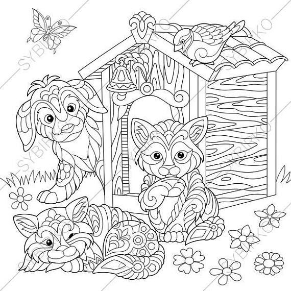 Coloring Page For Adults Digital Coloring Page Cats Dogs Etsy Cat Coloring Book Dog Coloring Page Cat Coloring Page