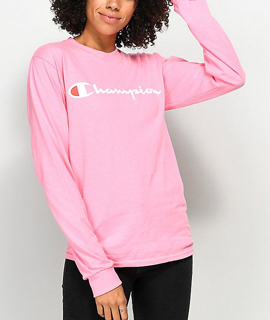 3b98d94d7f Champion Script Neon Pink Long Sleeve T-Shirt in 2019