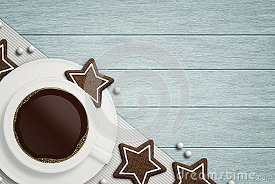 Coffee with christmas gingerbread lying on wooden table with place for text