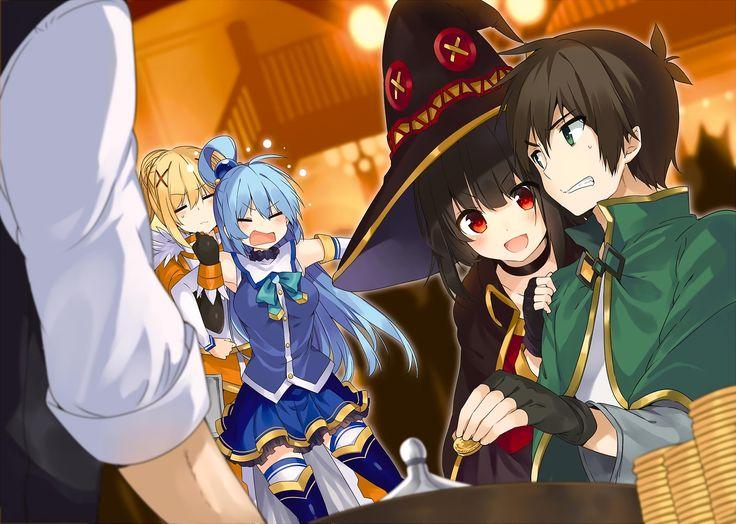 Anime KonoSuba – God's blessing on this wonderful world!!  Aqua (KonoSuba) Megumin (KonoSuba) Darkness (KonoSuba) Kazuma Satou KonoSuba Fondo de Pantalla