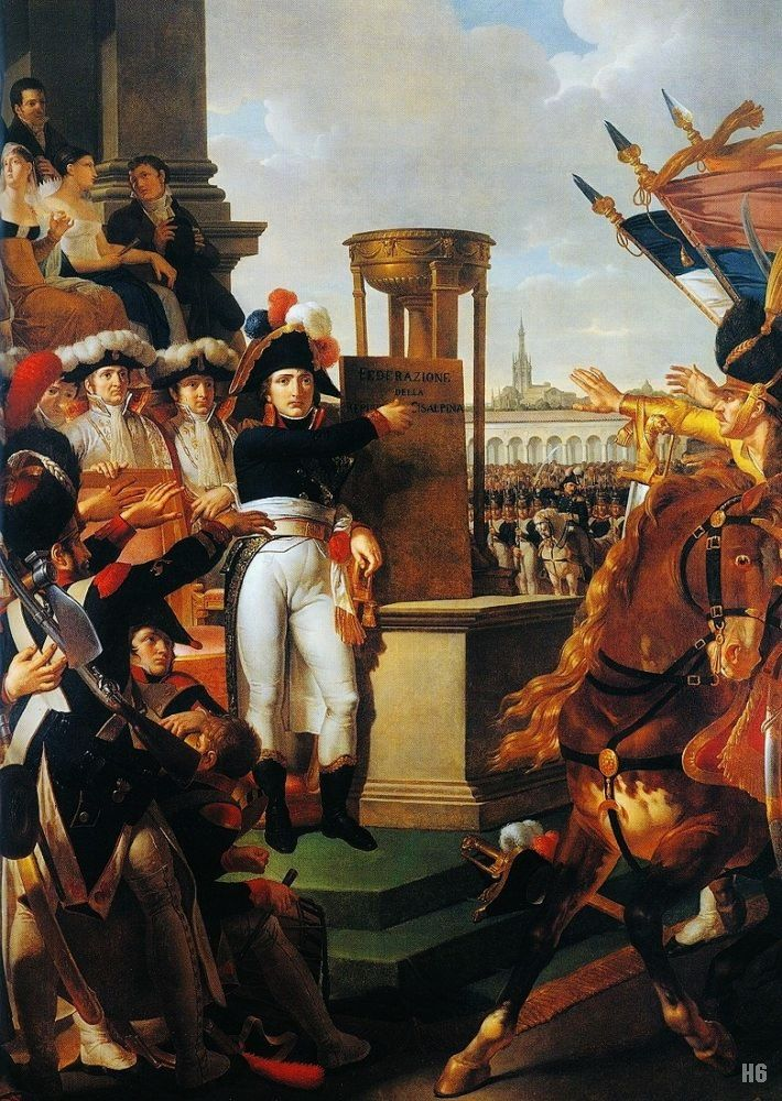 General Bonaparte proclaiming the Cisalpine Republic in Milan. 1813. Louis Lafitte. French. 1770-1828. oil on canvas.