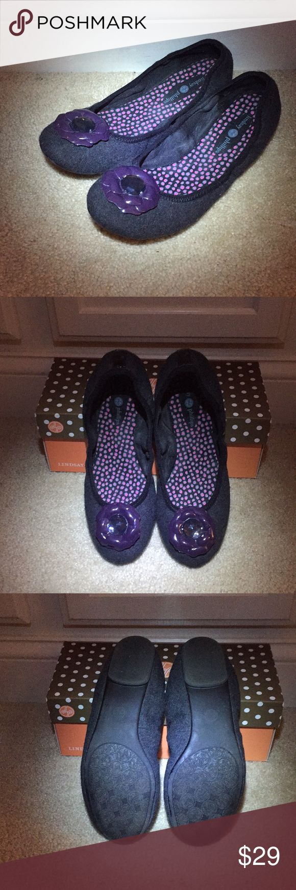 Lindsay Phillips ballet flat Grey flannel with dark purple patent flower snaps. Lightly worn. Lindsay Phillips Shoes Flats & Loafers