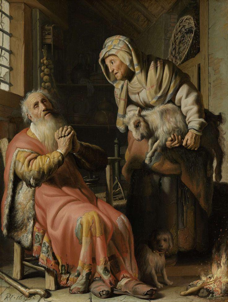 """""""Tobit en Anna met het bokje"""" by Rembrandt Harmensz. van Rijn, 1626. Oil on panel, h 39.5 cm × w 30 cm."""