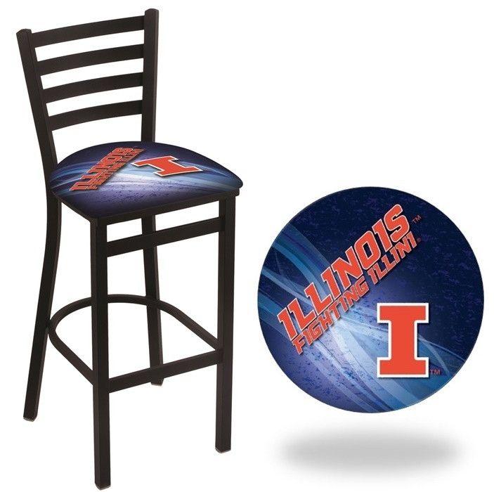 Illinois Fighting Illini D2 Stationary Ladder Back Bar Stool. Visit SportsFansPlus.com for Details.