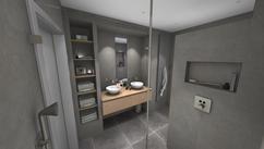 (@ Middelkoop Culemborg / badkamers) Deze badkamer is uitgevoerd met Beton Cire. Daardoor wordt er een unieke uitstraling gecreëerd ( Speciaal badkamer stukwerk met garantie, laat u goed informeren ), Deze warme kleur wordt extra benadrukt door het badkamer-meubel van Primabad en de RVS kranen van Axor Ook de 3 verticale lijnen bij de nis, spiegel en radiatoren geven het een speelse uitstraling aan het geheel Enthousiast over deze badkamer? Kijk voor meer informatie op onze website.