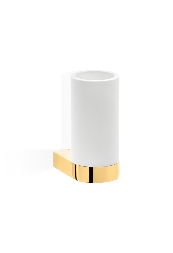 Century Wall Solid Surface Toothbrush Toothpaste Holder Bath Tumbler, Brass