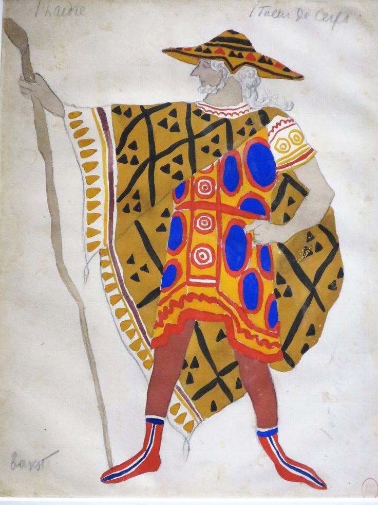 """Léon Bakst (Lev Samoïlovitch Rosenberg) (1866-1924) Costume de Paul Capellani dans le rôle de l'aède Enrytos dans Phaedre (1923) Exposition """"Léon Bakst, des ballets russes à la haute couture"""", Musée de l'Opéra Garnier, Paris IXe"""