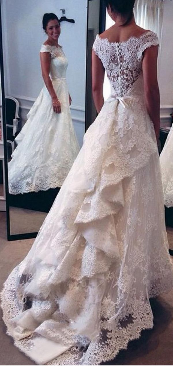 Elegant  Vintage Wedding Dress Lace White Wedding Dresses Off the Shoulder Layers Skirt A line Bridal Gowns sold by Adeledresses