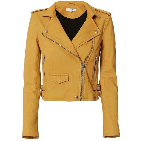 IRO Women's Ashville Yellow Cropped Leather Jacket (16.042.425 IDR) ❤ liked on Polyvore featuring outerwear, jackets, yellow, brown jacket, leather moto jackets, brown moto jacket, moto jackets and cropped jacket