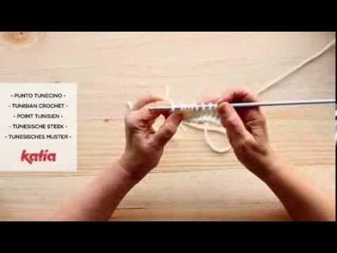 ▶ Punto tunecino · Tunisian stitch · Point tunisien - YouTube
