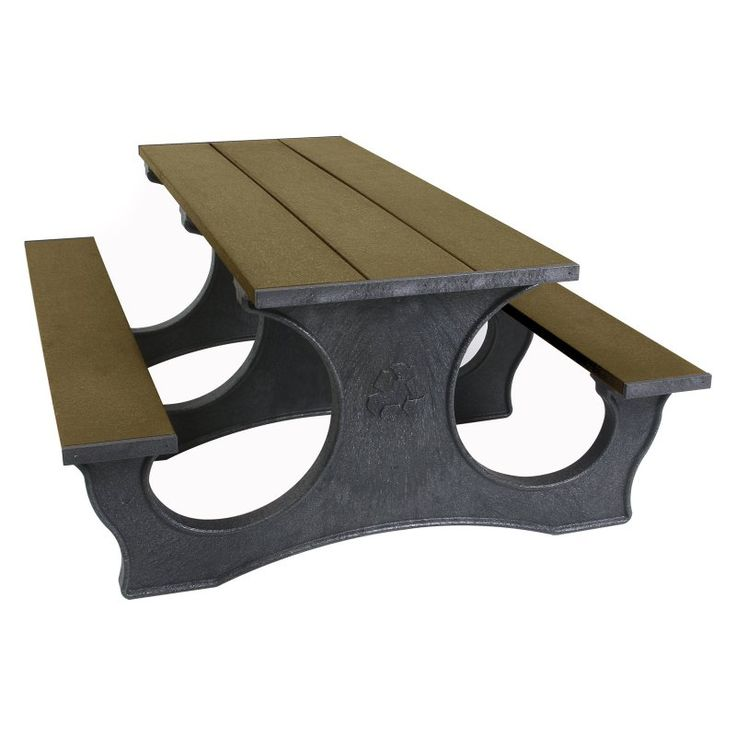 Outdoor Polly Products Tuff Easy Access Recycled Plastic Picnic Table Brown Frame Weathered Wood Top - ASM-PTEA8-BRN-WWD