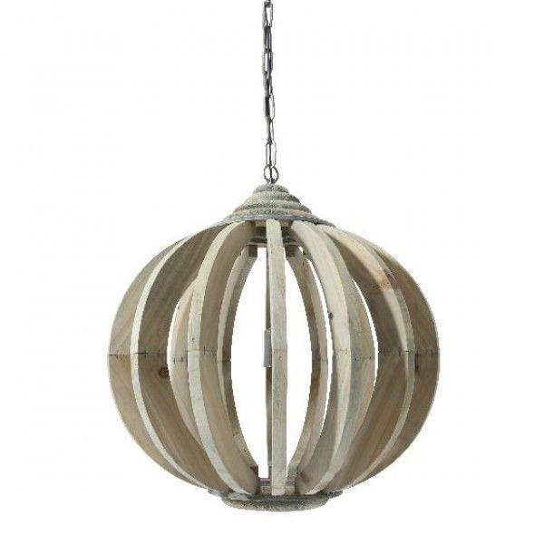 Hanglamp Laura hout met spijlen Ø53 cm Oud Grijs