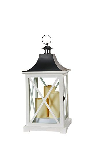 Smart Living York Triple LED Candle Lantern 20Inch White With Candles Powered By 3 LEDs Suitable For Both Indoor and Outdoor Use 80076 >>> Continue with the details at the image link. #Candleholders