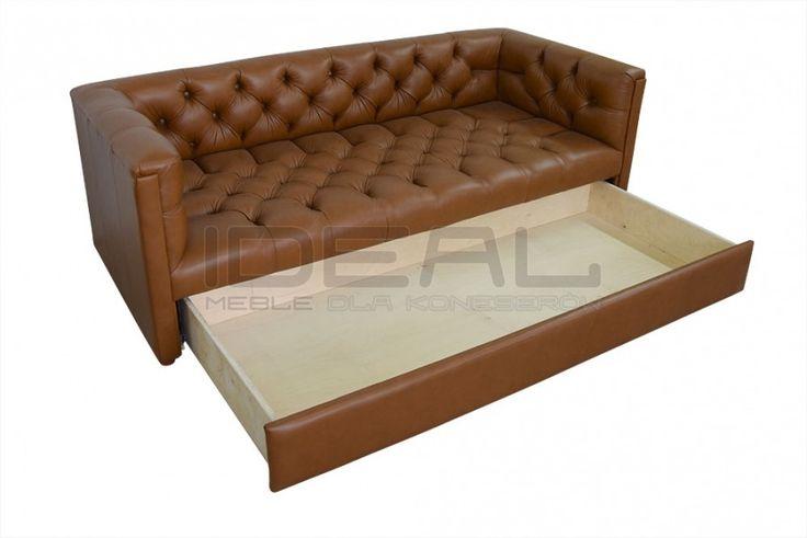 Sofy Stylowe - Sofa Chesterfield London Z Pojemnikiem W Skórze - Ideal Meble (brązowy, brown) - z pojemnikiem, z szufladą