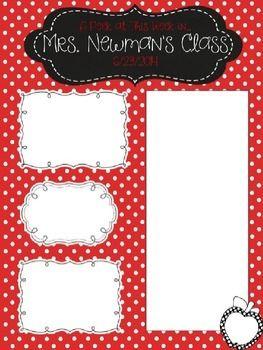 Red Polka Dot Newsletter Template - Editable: Apple & Chalkboard theme classroom newsletter