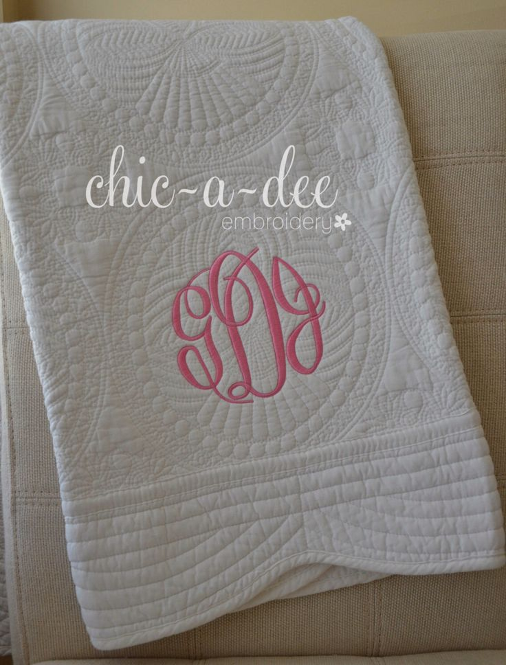 Monogrammed Baby Quilt by ChicADeeEmbroidery on Etsy https://www.etsy.com/listing/206507342/monogrammed-baby-quilt