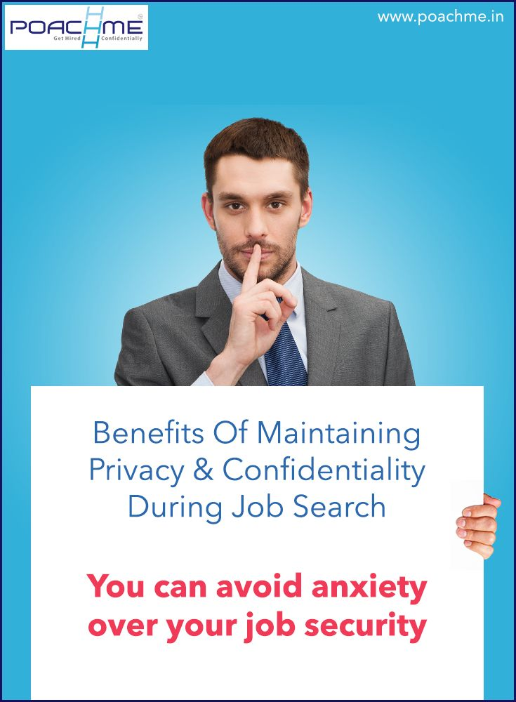 """Benefit of maintaining privacy and confidentiality during your job search: You can avoid anxiety over your job security. Read our blog post """"How to maintain privacy while searching for a job: 5 practical tips"""" [Click on the image] #poachmein #jobs #handshake"""
