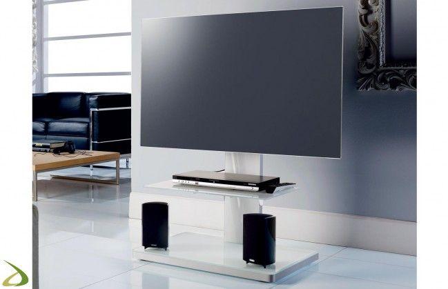 Porta tv bianco a colonna di design con ripiano in vetro | Soggiorni ...