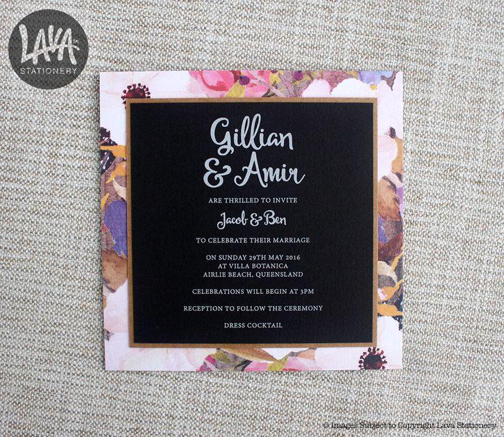 #WhiteInk #WeddingInvitations with #Kraft and #Floral background by www.lavastationery.com.au