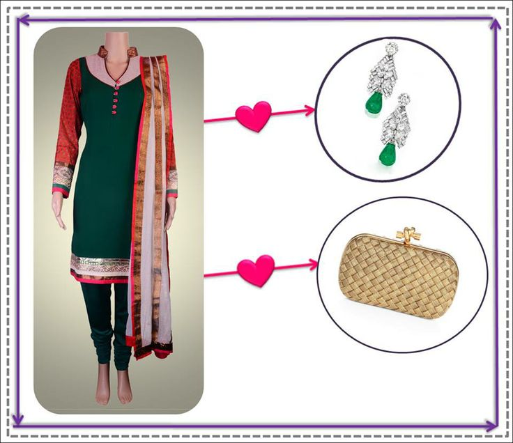 Team this graceful green outfit by Kanika Kedia with some beautiful earrings by Jewelry Junction and a stylish Bottega Veneta clutch :)