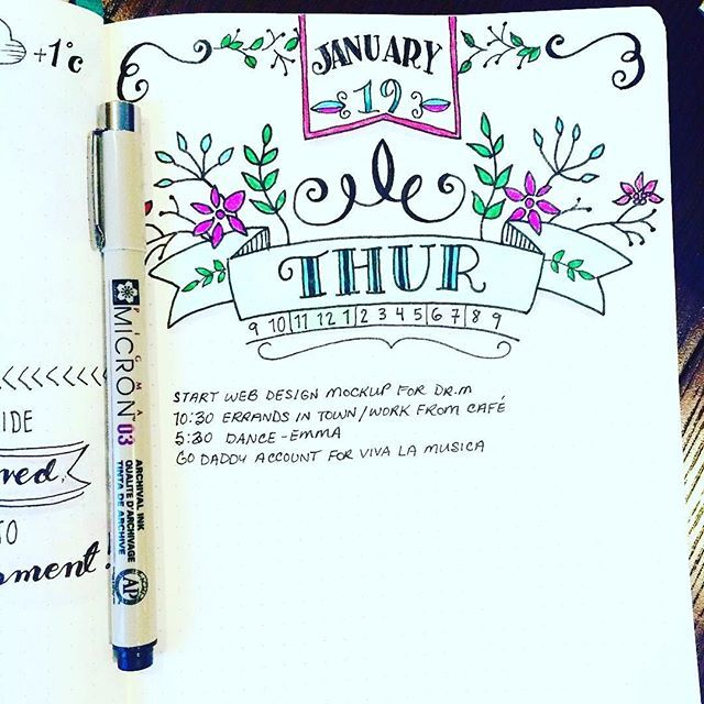 As we head to our local women's march today I'm going to take a lesson from @katipauls and take time to make something beautiful today. Like her gorgeous header on this bulletjournal daily. ・・・ Almost Friday!! #planneraddict #planner #handlettering #doodl