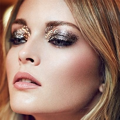 A glittery silver eye teamed with nude lips and cheeks makes for a perfect party look