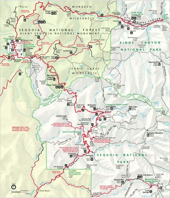 Map Of Kings Canyon Camping Vacation National Parks