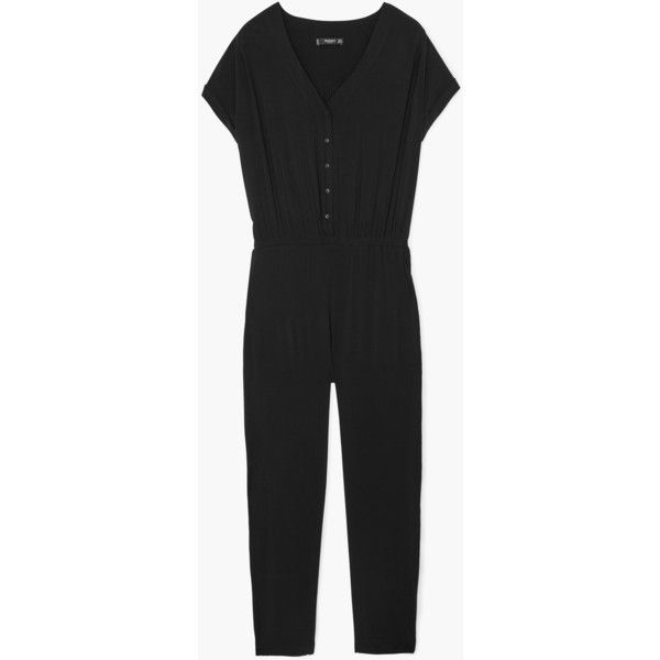 MANGO Flowy Long Jumpsuit (€63) via Polyvore featuring jumpsuits, long jumpsuit, short sleeve jumpsuit, mango jumpsuit, jump suit y v neck jumpsuit